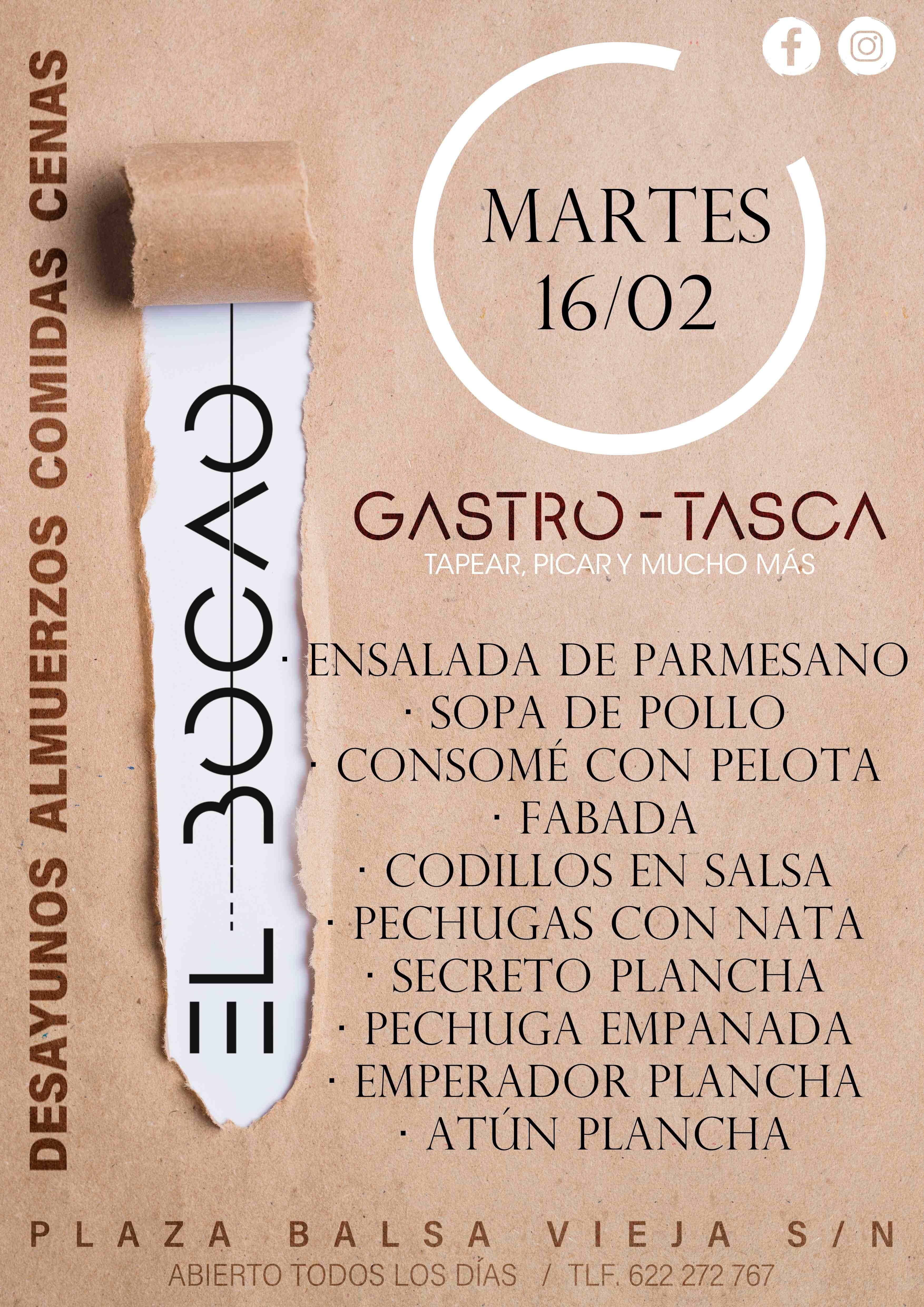 Menu diario de El Bocao en Totana